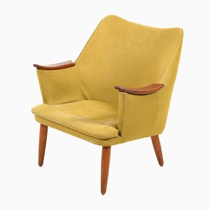 Mid-Century Danish Fabric and Teak Lounge Chair, 1950s