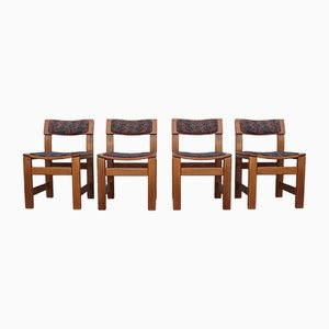 Französische Esszimmerstühle aus Ulmenholz von Maison Regain, 1970er, 4er Set