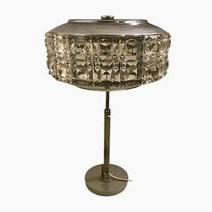 Italian Chrome Plating and Lead Crystal Table Lamp, 1960s