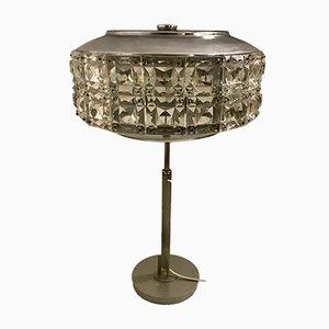 Lámpara de mesa italiana de cristal de plomo y cromo, años 60