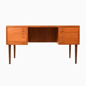 Mid-Century Danish Teak Desk with Brass Handles, 1950s