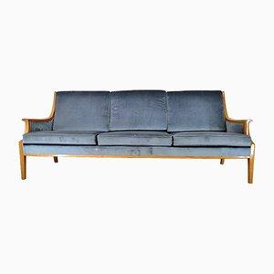 Mid-Century Danish Cherry Wood & Velvet 3-Seater Sofa