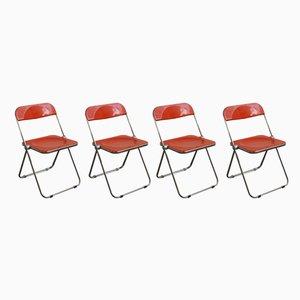 Moderne italienische Plia Esszimmerstühle von Giancarlo Piretti für Castelli, 1970er, 4er Set