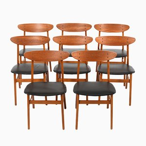Danish 210 Beech and Leatherette Dining Chairs from Farstrup Møbler, 1950s, Set of 8