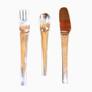 Set da tavola moderno in acciaio di Joe Colombo per Inox, Italia, anni '60, set di 3
