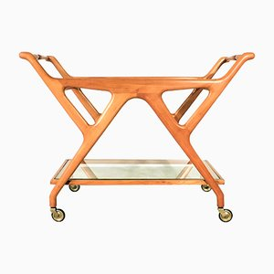 Italian Glass and Walnut Trolley by Cesare Lacca for Cassina, 1950s