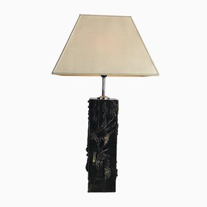 Mid-Century Gold Glaze Ceramic Sculptural Brutalist Floor or Table Lamp, 1960s