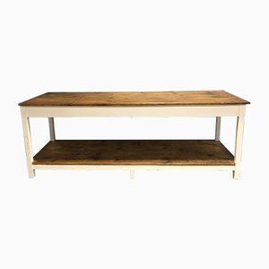 Table d'Atelier Industrielle Vintage en Sapin, France