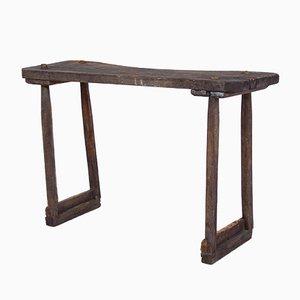 Mesa de trabajo italiana antigua artesanal de madera