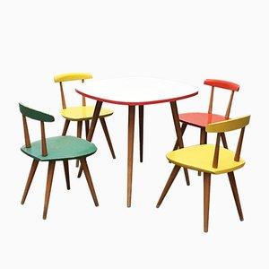 Juego de mesa y sillas infantiles de Karla Drabsch para Kleid & Raum, años 50