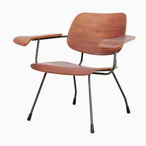 Modell 8000 Armlehnstuhl aus Stahl & Teak von Tjerk Reijenga für Pilastro, 1950er