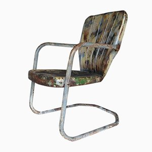 Mid-Century Industrial Metal Cantilever Armchair, 1950s
