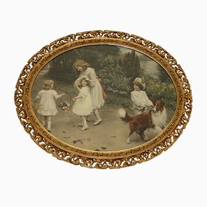 Antique Oval Love at First Sight Painting by Arthur John Elsley