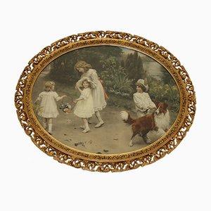 Ovales antikes Love at first sight Gemälde von Arthur John Elsley