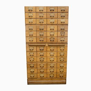 Vintage Oak Apothecary Filing Cabinet, 1950s