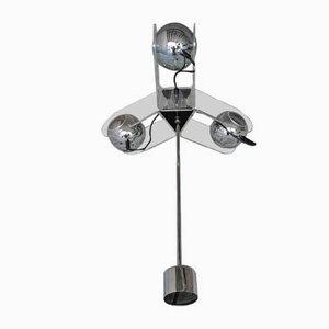 Italienische Deckenlampe aus Chrom & Plexiglas von Gino Sarfatti für Arteluce, 1970er
