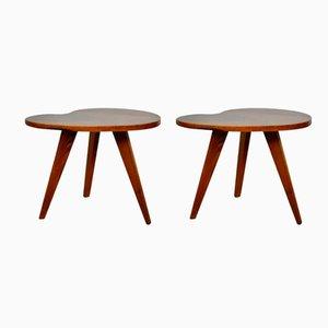 Französische Mid-Century Beistelltische aus Holz, 1960er, 2er Set