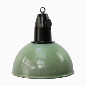 Vintage Industrial Green Enamel & Bakelite Pendant Light