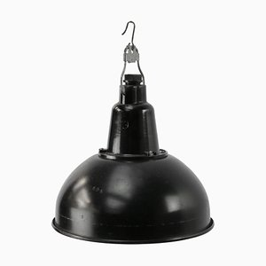 Vintage Industrial Black Metal & Bakelite Pendant Light