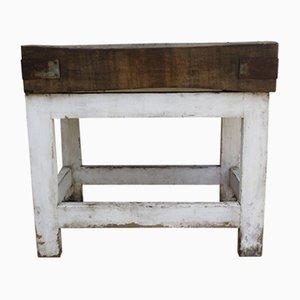 Tavolo da macellaio antico industriale in acero e pino