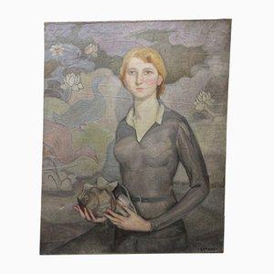 Young Lady Ölgemälde von Manuel De Azpiroz, 1920er
