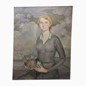 Young Lady Oil Painting by Manuel De Azpiroz, 1920s