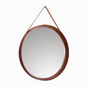 Round Mid-Century Italian Mirror with Leather Belt, 1950s