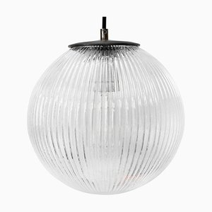 Vintage Clear Glass & Metal Pendant Light