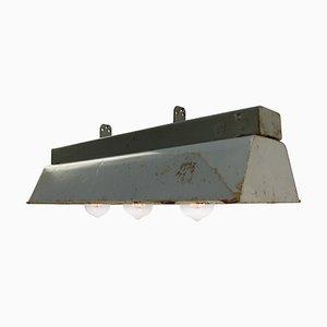 Lámpara colgante de teatro industrial vintage de metal gris