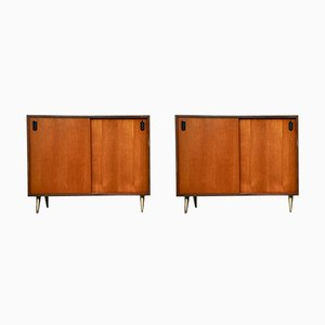 Vintage Italian Brass and Teak Cabinets, 1970s, Set of 2