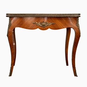 Antiker französischer Spieltisch aus Bronze, Leder und Birnenholz im Louis XV-Stil