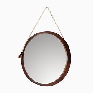 Round Mid-Century Italian Mirror with Nylon Strap, 1950s