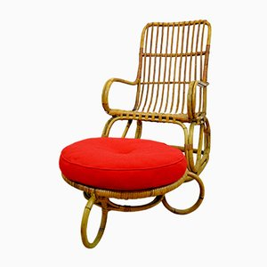 Mid-Century Italian Rattan and Bamboo Garden Chair with Ottoman, 1960s
