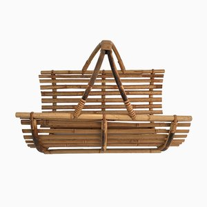 Vintage French Rattan Magazine Rack or Log Holder, 1970s