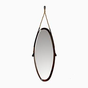 Mid-Century Italian Teak Mirror, 1950s