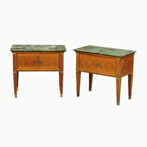 Mid-Century Italian Modern Bedside Cabinets with Marble Top, 1940s, Set of 2