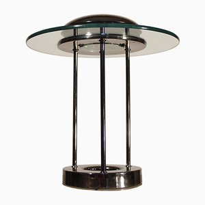 Chrome-Plated and Tempered Glass Table Lamp, 1980s