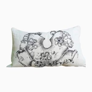 Hand-Painted White Linen Jewels Collection Pillow from House of Ita