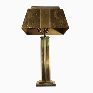 Brass and Tempered Glass Table Lamp, 1930s