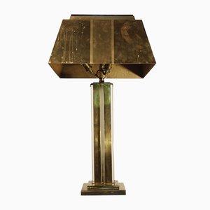 Tischlampe aus Messing & Hartglas, 1930er