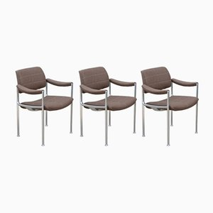 Aluminum and Wool Chairs by Miller Borgsen for Röder Söhne, 1960s, Set of 3