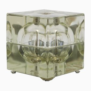 Minimalistische italienische Tischlampe aus Glas & Eisen von Alessandro Mendini für Fidenza Vetraria, 1968