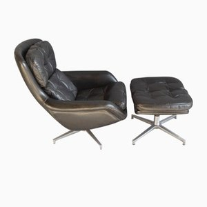 Danish Leather Chair and Footstool by H.W. Klein for Bramin, 1960s