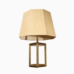 Brass and Tempered Glass Table Lamp, 1970s