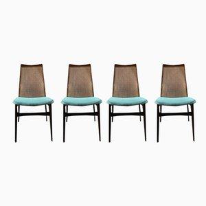 Schwedische Esszimmerstühle aus Rattan und Teakholz von Akerblom, 1970er, 4er Set