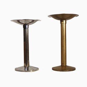 Cendriers Modernistes en Bronze Nickelé et Doré de Lépori Frères, 1930s, Set de 2