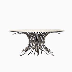 Tavolino da caffè Hollywood Regency in ferro battuto, anni '70