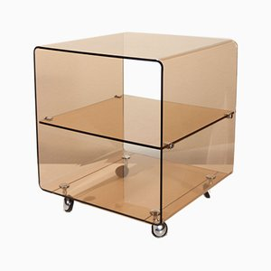 Table d'Appoint Cube à Roulettes par Michel Dumas pour Roche Bobois, 1970s