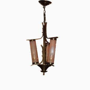 French Brass and Opaline Glass Chandelier from Atelier Petitot, 1950s