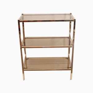 Brass & Smoked Glass Shelf by Pierre Vandel, 1970s